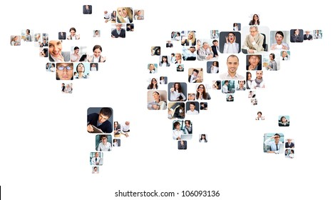 Collection of different people portraits placed as world map shape