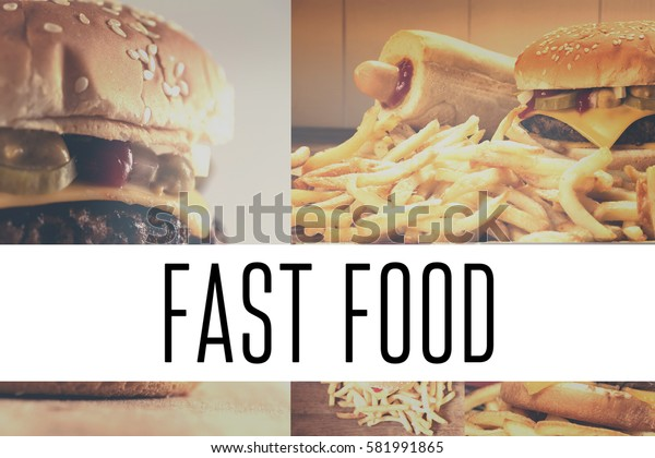 Collection of different photos of eating fast food as the menu.