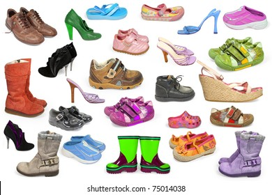 collection of different shoes isolated