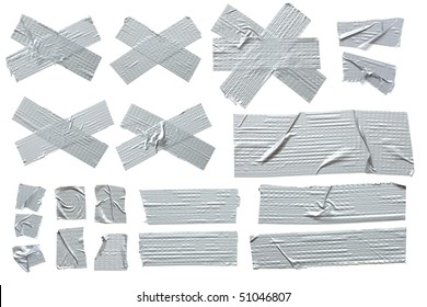 Collection of different stripes of masking tape. All isolated on plain white background.
