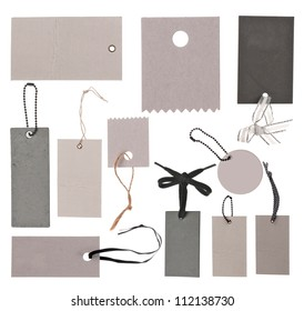 Collection of different tags or label isolated on white