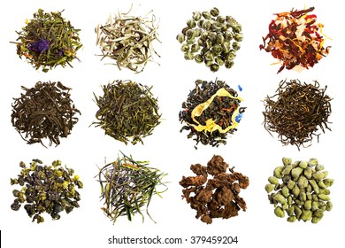 Collection of different teas isolated on white