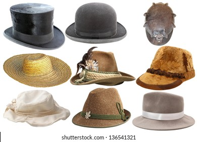 collection of different types of hats isolated on white background