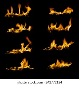 Collection of different types and shapes of flames isolated on black background