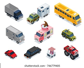 A collection of different vehicles in an isometric format.