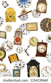 Collection of different vintage table clocks and clock faces isolated on a white background