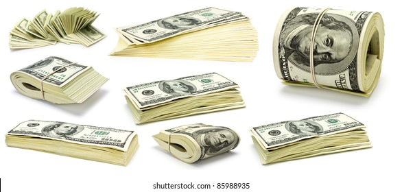 Collection dollars isolated on white background