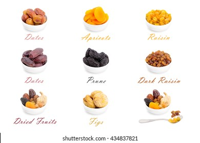 Collection of dried fruits for iftar in Ramadan isolated on the white background