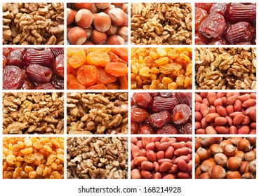 Collection of dried fruits and nuts backgrounds