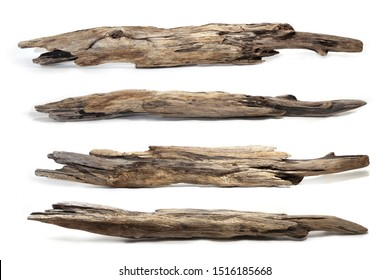 Collection of drift wood log isolated on white