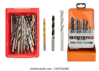 collection of drills, isolated on white