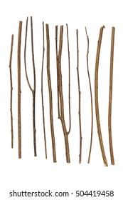 Collection dry branches Twigs isolated on white background