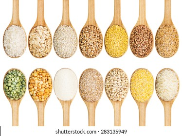 Collection of dry cereals on a wooden spoon