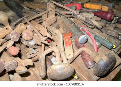 Collection of dusty old tools