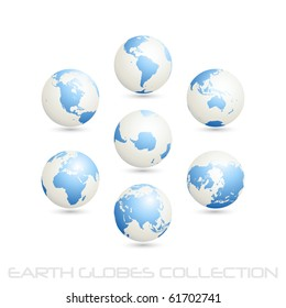 collection of earth globes isolated on white, clip art illustration. Vector format is also available in my gallery