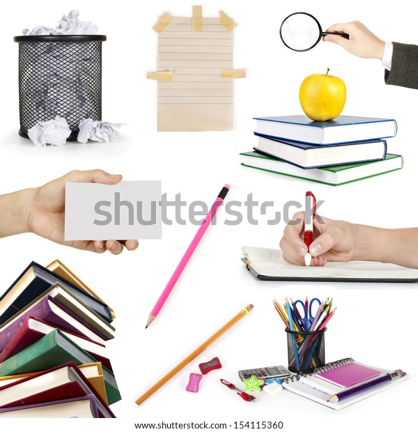 collection education objects on white background