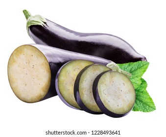 Collection of eggplants isolated on a white background with clipping path