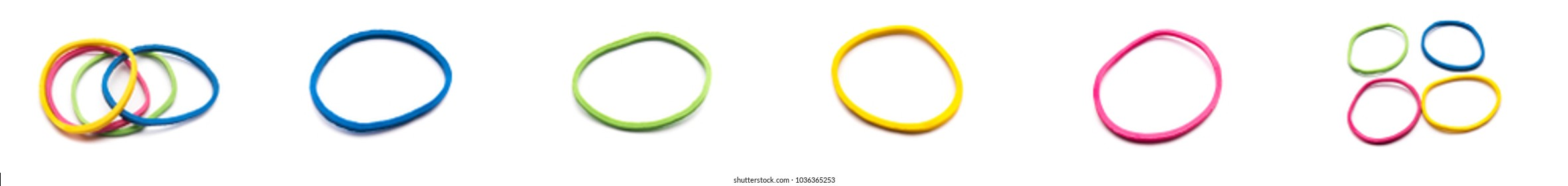 The collection of Elastic bands on a white background