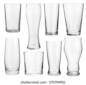 Collection of empty glasses for alcohol and soft drinks