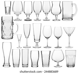 Collection of empty glassware on white background