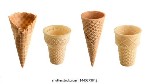 Collection of empty ice cream cones isolated on white background