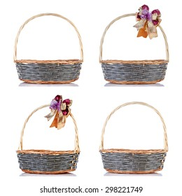 Collection of empty wicker baskets on white background.