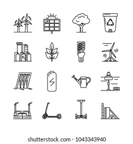 Collection of energy and ecology icons in thin line style. Renewable energy sources, ecology transport and objects in linear symbols isolated on white background.