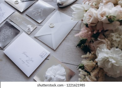 collection of envelopes or invitations isolated on white, wedding invitation card design concept