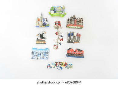 Collection of Europe's fridge magnets isolated on white background (souvenirs gifts)