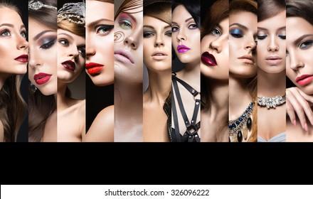 Collection of evening makeup. Beautiful girls. Beauty face.