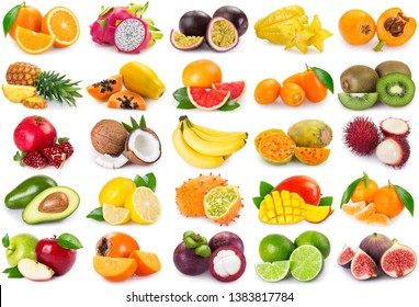 collection of exotic fruits isolated on white background