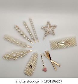 collection of faux ivory pearl hair clips girly fashion trendy style