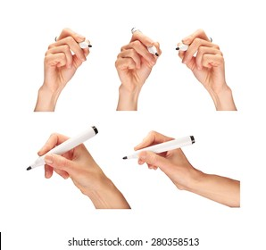 A collection of female hands holding a marker pen.
