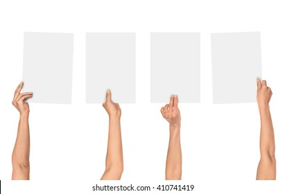a collection of female hands holding paper isolated on white background