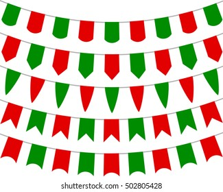 Collection of festive decorative flags for the holiday on a white background