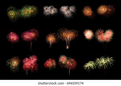 Collection of fireworks on black background.