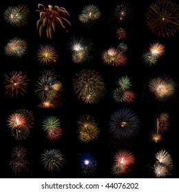Collection of fireworks put together in one image. Celebration of New Years, Party, Independence Day etc.