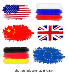 Collection of flags including USA, China, Russia, United Kingdom, Germany and European Union