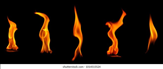 Collection flashes flame isolated on black background.