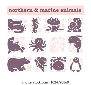 Collection of flat cute animal icons isolated on white background. Northern and marine animals and birds symbols. Hand drawn emblems. Perfect for logo design, infographic, prints etc.