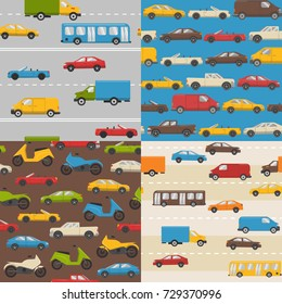 Collection of flat style seamless patterns with colorful cars. Different urban transport - cars, buses, trucks and minivans.