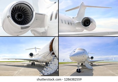 Collection of four photos of luxury private jet aircraft