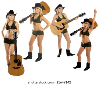 Collection of four poses of a sexy young cowgirl in a hat, bikini and boots with a 12 string acoustic guitar