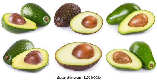 collection of fresh avocado isolated on white background