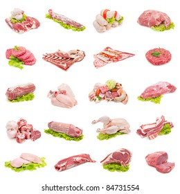 collection of fresh beef, veal, poultry and pork on white background
