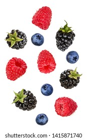Collection of fresh berries isolated on white background