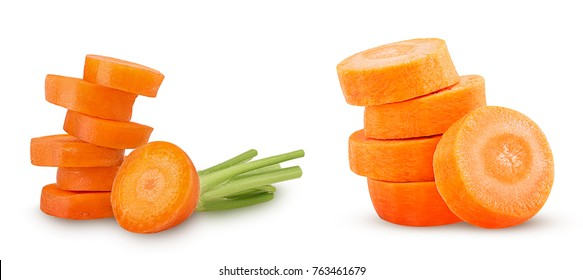Collection of fresh clean carrots with stems, ring slice  isolated on white background. Clipping Path.  Full depth of field.