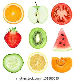 Collection of fresh fruit and vegetable slices on white background. Orange, kiwi, lemon, apple, strawberries, watermelon, cucumber, tomato and pumpkin