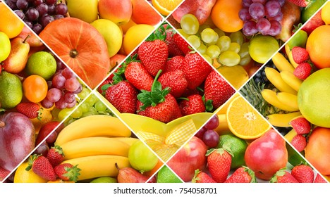 Collection fresh fruits background. Wide photo .