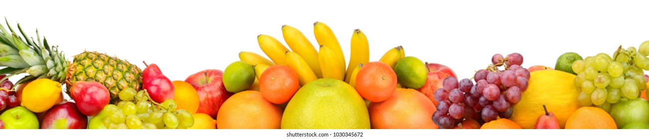 Collection fresh fruits isolated on white background. Panoramic collage. Wide photo with free space for text.